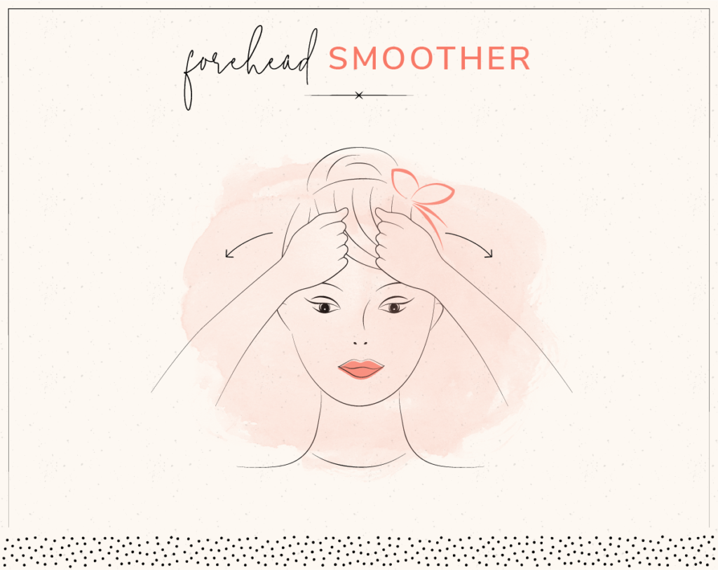 drawing of woman smoothing forehead with knuckles
