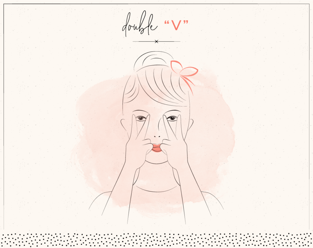 drawing of woman smoothing cheeks with face yoga