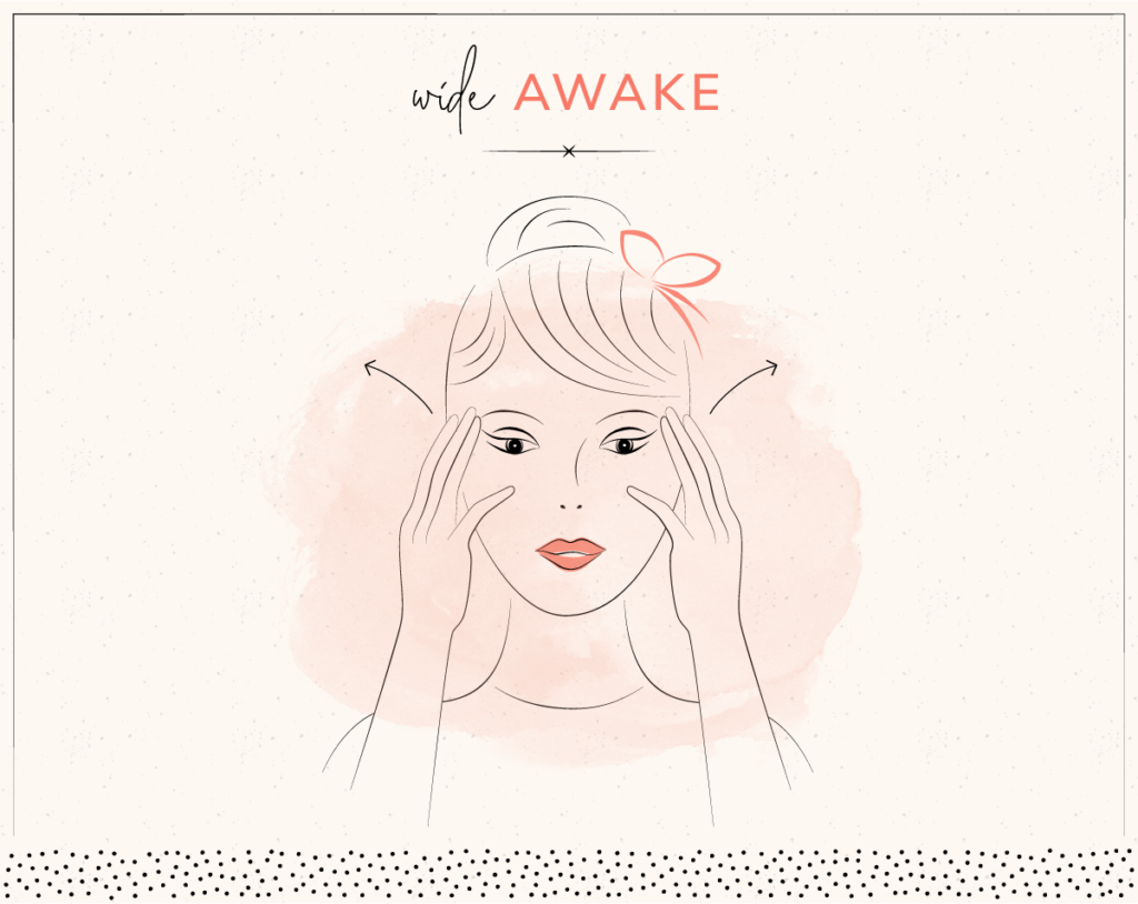 drawing of woman stretching eyes with face yoga