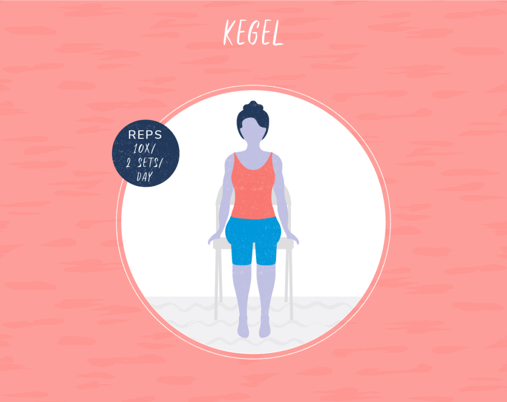 illustration of girl in chair doing Kegel exercises