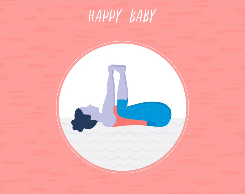 woman on back stretching in happy baby pose