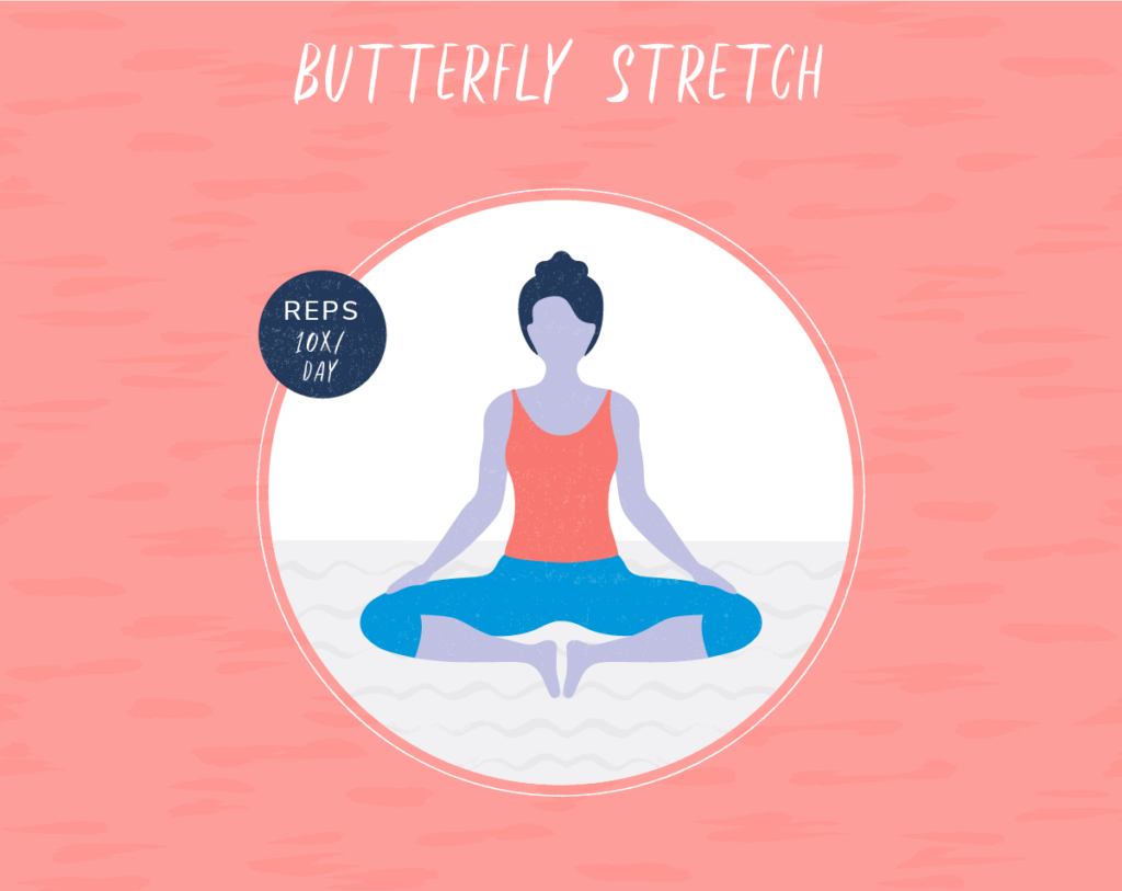 illustration woman sitting in butterfly stretch
