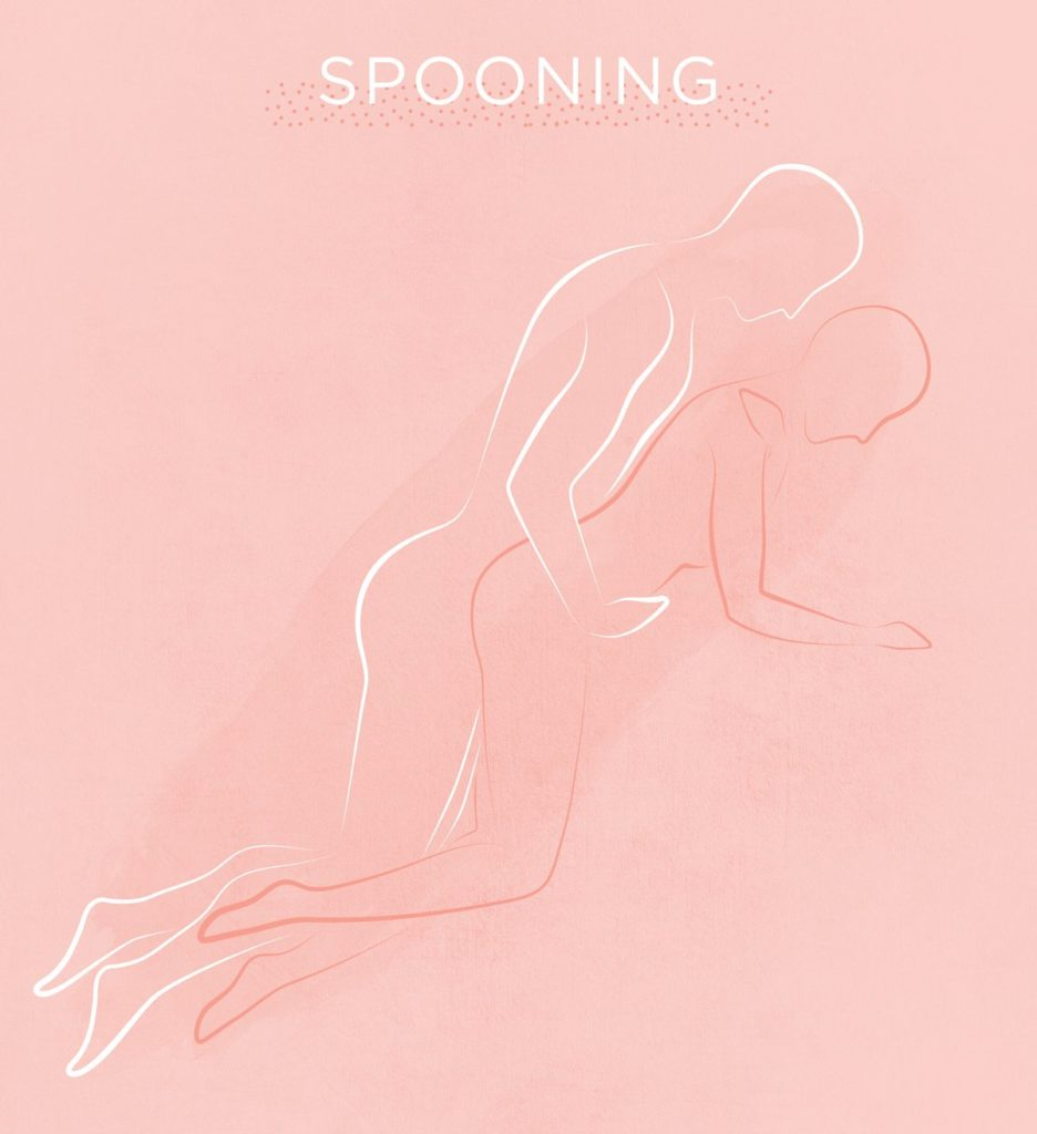 illustration of modified spooning disabled sex position