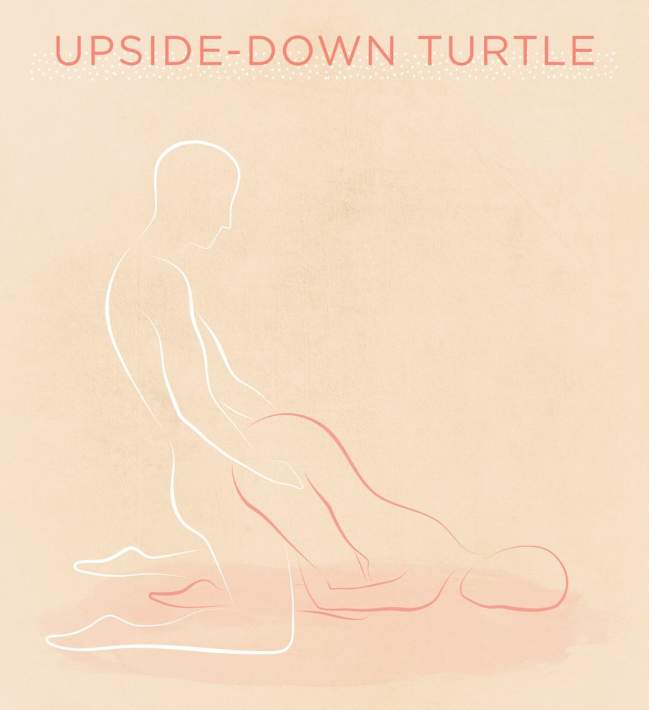 illustration of upside down turtle sex position